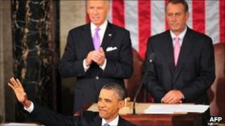 President Obama with Vice President Joe Biden and Speaker of the House John Boehner behind him