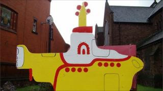 Yellow submarine outside St Barnabas Church (picture courtesy of St Barnabas church)