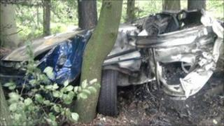 Car wreck near Bix