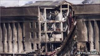File picture of the scene of the attack on the Pentagon, 11 September 2001