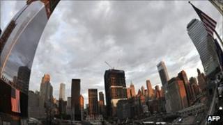 Ground Zero memorial in New York on 10 September 2011