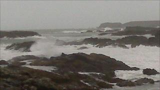 Heavy sea off Trearddur Bay on Anglesey on Sunday