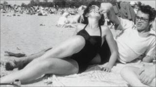 Photograph showing James Dean and his then girlfriend Barbara Glenn