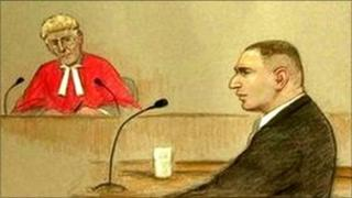 Court drawing of Robert Stewart giving evidence in front of Justice John Gillen