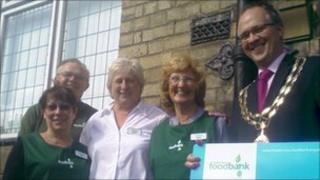 The Mayor of Hornsea, Carl Milson, opens the Hornsea foodbank