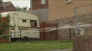 The victim's caravan in Lagmore