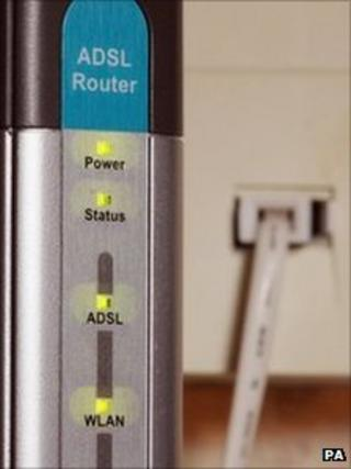 Router connected to a broadband-enabled phone socket