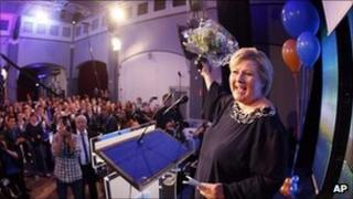 Erna Solberg, leader of Norway's Conservatives, celebrates her party's results in Oslo, 13 September