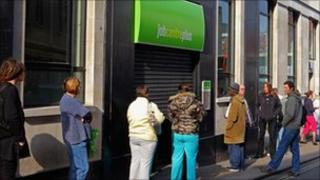People outside a Job Centre Plus office in Bristol