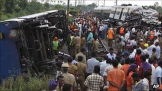 The site of the train crash near Chennai on 13 September 2011