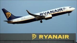 Ryanair plane and building