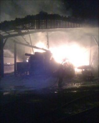 Barn fire in Charminster