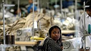 A factory worker in Bangladesh