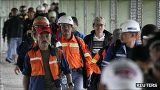 Workers from Freeport McMoran mine arrive in Timika, in Indonesia's Papua province, to join a mass strike