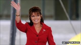 Former Alaska governor Sarah Palin prepares to speak at a Tea Party Express rally on September 5, 2011 at Veteran's Memorial Park in Manchester, New Hampshire.