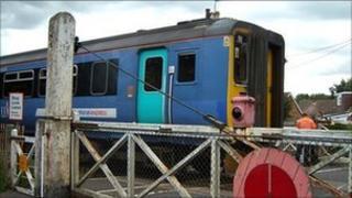 Rail crossing at Lingwood, Norfolk