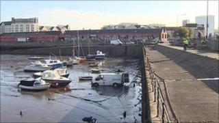 White van in Newhaven Harbour