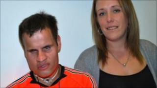 Ben Noble with his support worker Stacey Darby