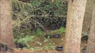 The tyres on private land at Vivod, near Llangollen