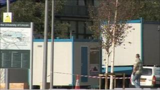 Portable twin cabin units set up at the University of Lincoln
