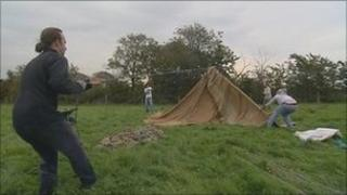 Protesters set up camp in Banks