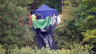 Rescue workers at Gleision Colliery near Swansea, South Wales, on Friday