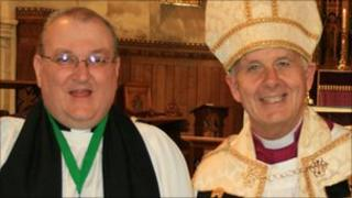 Father Paul Bigmore (left) with the Archbishop of Wales Dr Barry Morgan