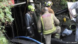 Rescuers at the Gleision Colliery