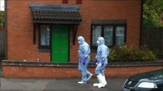 Police search one of the properties in Sparkbrook