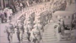German soldiers marching in Jersey