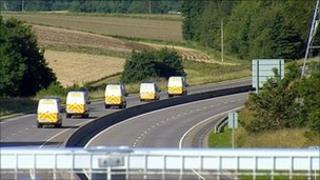 Grampian Police vans on A90