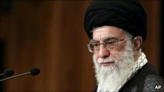 Iranian Supreme Leader Ayatollah Ali Khamenei, attends the opening of an international Islamic conference, in Tehran, Iran, Saturday, Sept 17