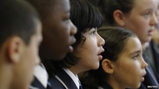 Schoolchildren singing