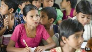 Girls in a village school in Bangladesh