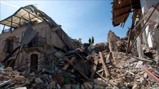Earthquake damage in Onna, near L'Aquila, Italy - 7 April 2009