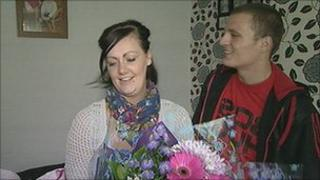 Aimee Yule is thanked by Jason Waters