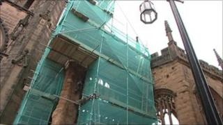 Coventry cathedral ruins scaffolding