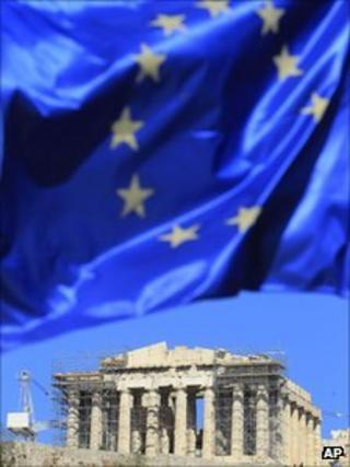 EU flag flying in front of the Parthenon in Athens