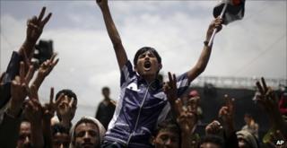 Anti-Saleh protesters in Sanaa, 11 September 2011