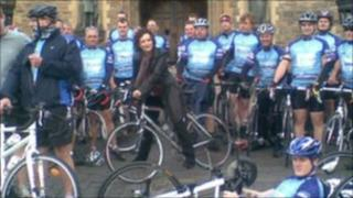Blythe Duff joined the cyclists to send them off from Edinburgh Castle Pic: Morag Kinniburgh