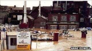 Harveys brewery in Lewes flooded