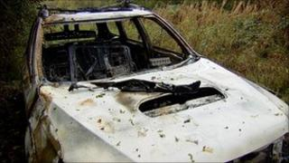 Burnt-out ambulance