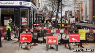 Roadworks on the A11 in east London