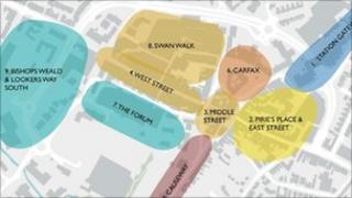 Sketch of possible plans for Horsham town centre