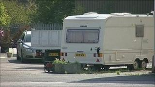 Caravan at the Armstrong's Mill retail outlet in Long Eaton, Derbyshire