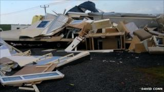 Nine caravans were blown over at the site