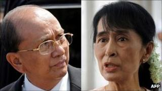 Composite image showing Burmese PM Thein Sein and pro-democracy leader Aung San Suu Kyi