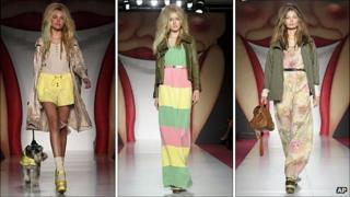 Models present creations by Mulberry during London Fashion Week