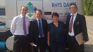 Mark Richmond, MD, Rhys Davies Logistics Ltd, Owen Smith, community councillor Jill Bonetto, Mick Antoniw Picture: Mick Antoniw