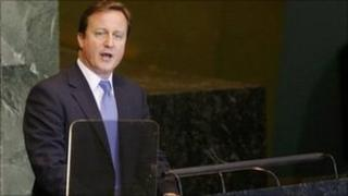 David Cameron addresses the UN on 22 September 2011